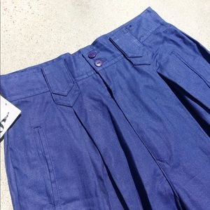 Vintage 80s High Waisted Pleated Cuffed Navy Pants